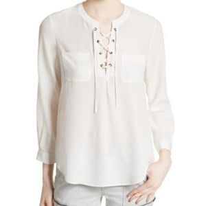 Joie Silk Lace Up Bertine Blouse